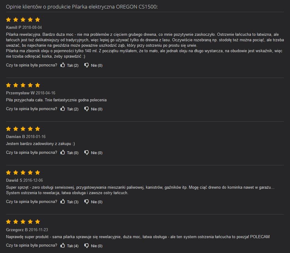 Opinie użytkowników pilarki elektrycznej OREGON CS1500