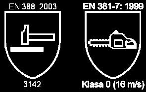 Norma bezpieczeństwa EN388: 2003 i EN381-7: 1999 - dot. odzieży ochronnej dla użytkowników pilarek łańcuchowych przenośnych