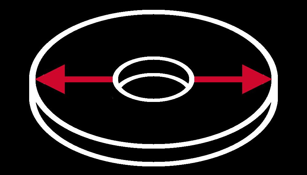Średnica zewnętrzna tarczy ściernej (wyrażona w milimetrach)